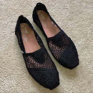 Black Crochet Lace Toms